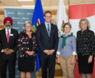 Taking part in the announcement at the University of Calgary were, from left: Faculty of Veterinary Medicine Dean Baljit Singh, Provost Dru Marshall, Minister of Advanced Education Marlin Schmidt, student Elizabeth Riddett and President Elizabeth Cannon.