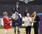 Beezie Madden, winner of the $250,000 Longines FEI World Cup™ Jumping Lexington at the National Horse Show, with ringmaster John Franzreb, Margaret Duprey and National Chairman Mason Phelps. Photo ©2018 by Nancy Jaffer