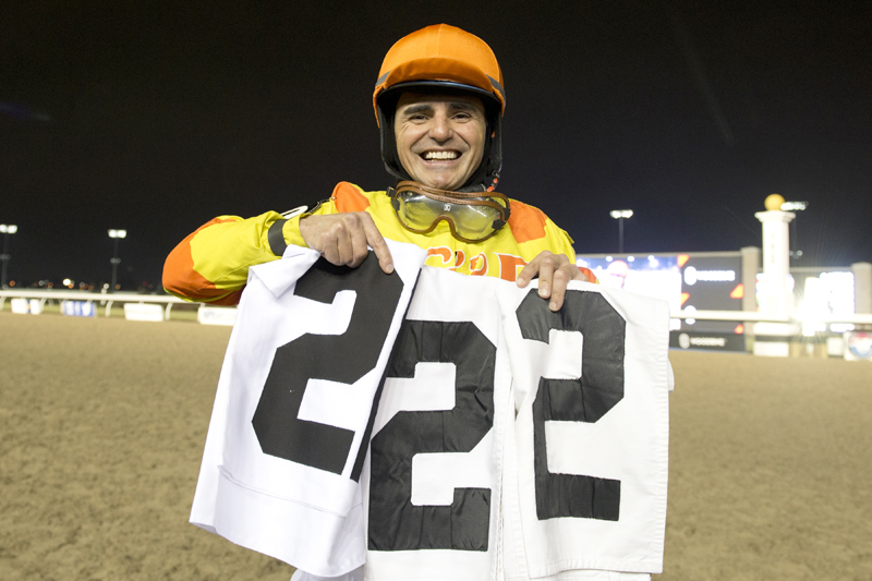 Eurico Rosa da Silva celebrates his record 222nd victory of the 2018 Woodbine meet.