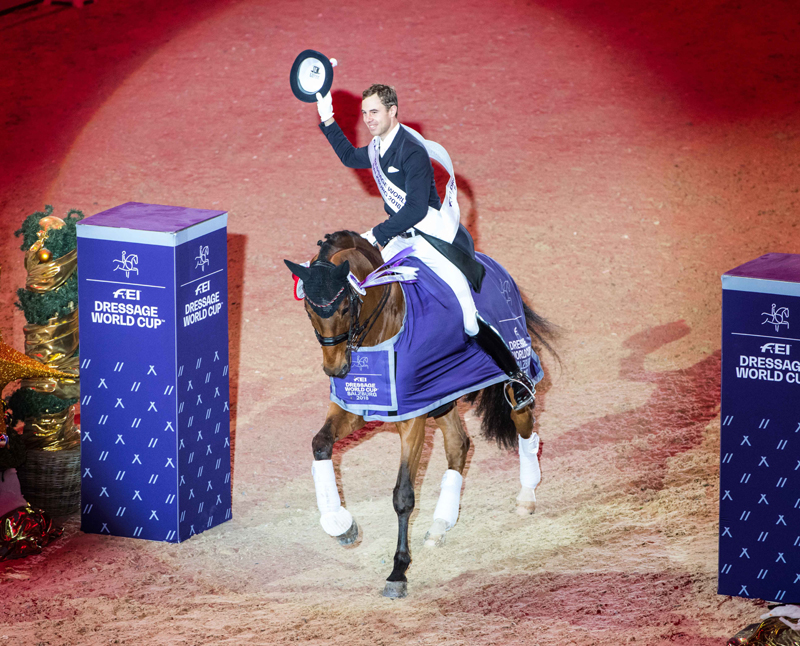 Germany's Benny Werndl threw his hat into the ring for a place at the FEI Dresssage World Cup™ Final next April when producing a spectacular victory with Daily Mirror at the fifth leg of the Western European League 2018/2019 series in Salzburg, Austria. Photo by FEI/ Lukasz Kowalski