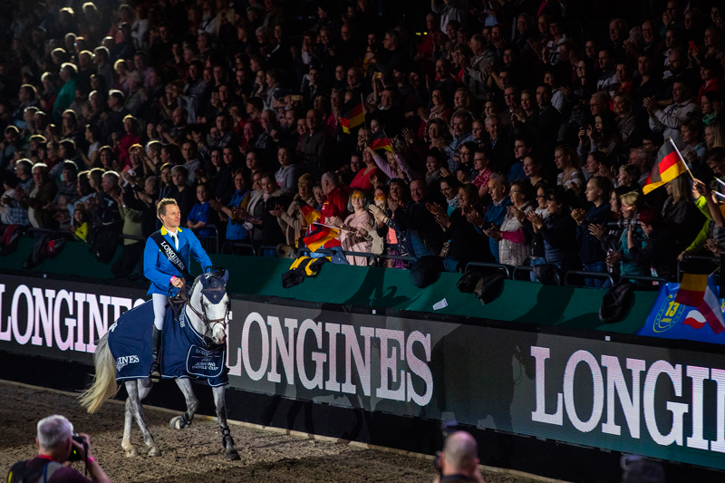 Germany's Christian Ahlmann won his second qualifier of the season with a brilliant performance from Caribis Z at the eleventh leg of the Longines FEI Jumping World Cup™ 2018/2019 Western European League in Leipzig (GER). Photo by FEI/Leanjo de Koster