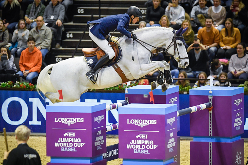 Switzerland's Martin Fuchs and Clooney stole the show with victory in the tenth leg of the Longines FEI Jumping World Cup™ 2018/2019 Western European League on home ground at Basel (SUI). Photo by FEI/Katja Stuppia