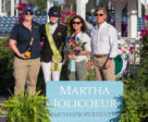Martha Jolicoeur (right) and Dr. Stephen Norton (far right) present the first Martha Jolicoeur Leading Lady Rider Award of the 2019 Winter Equestrian Festival season to Tiffany Foster (left) and owner Ariel Grange (far left) in Wellington, FL. Photo by Jump Media