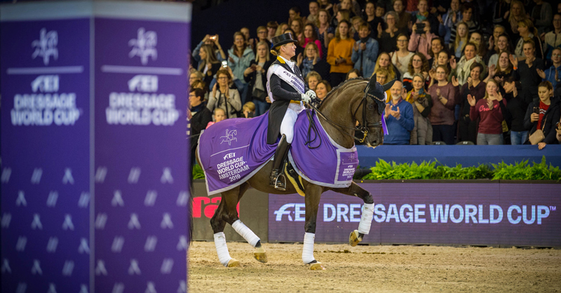 Four-time series champion, Germany's Isabell Werth, stamped her authority all over the opposition with another superb win at the eighth leg of the FEI Dressage World Cup™ 2018/2019 Western European League in Amsterdam (NED) riding Weihegold OLD. Photo by FEI/Arnd Bronkhorst