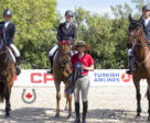 Despite being at a disadvantage with a three-member team and no drop score, The Eh Team pulled together to take second place in the CSIO-J Friendly Team Competition. L to R: Emma Bergeron, Sara Tindale, Beth Underhill, Marco Antoni Peixoto Ferreira Filho