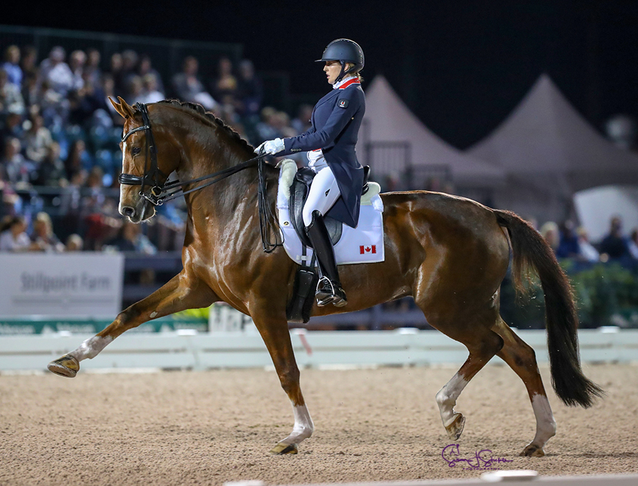 Brittany Fraser-Beaulieu and All In won the FEI Grand Prix Freestyle CDI5*, presented by CaptiveOne Advisors, with a score of 76.520%.