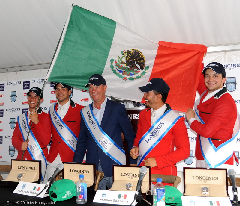 The Mexican team of Fernando Martinez Sommer, Eugenio Garza Perez, coach Stany van Paesschen, Juan Jose Zendejas Salgado and Manuel Gonzales Dufrane that won the Longines Nations' Cup of the USA at the Palm Beach Masters. Photo ©2019 by Nancy Jaffer