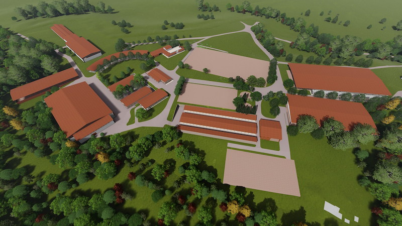 The Italian Equestrian Sports Federation has outlined plans to host the majority of the FEI World Championships 2022 at the Tenuta Santa Barbara di Bracciano venue, a rendering of which is shown here.