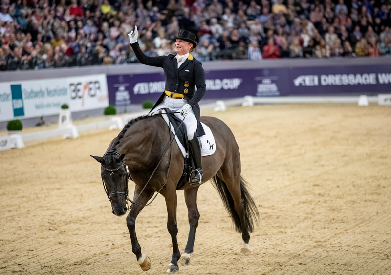 Defending series champion, Germany's Isabell Werth, won today's ninth and penultimate leg of the FEI Dressage World Cup™ 2018/2019 Western European League on home ground at Neumünster (GER) with her multi-medalled mare Weihegold. Photo by FEI/Stefan Lafrentz