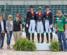 Team Canada 1 – comprised of Naima Moreira Laliberté of Outremont, QC, Laurence Blais Tètreault of Montreal, QC, and Tanya Strasser-Shostak of Sainte-Adèle, QC – claimed the silver medal in the Nations Cup CDIO-U25 presented by Diamante Farms, held March 13, 2019, in Wellington, FL. L to R: Isabelle Judet, Terri Kane, Christine Peters, Moreira Laliberté, Strasser-Shostak, Blais Tètreault, Allyn Mann.