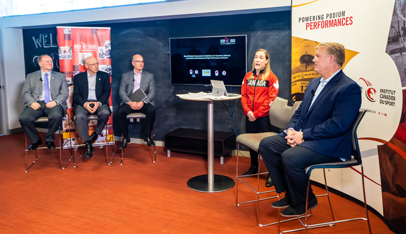 The Canadian Olympic and Paralympic Sport Institute Network announced a new national high performance sport concussion strategy at the Canadian Sport Institute Calgary in Calgary, AB, on March 18, 2018. Pictured (left to right) are Dr. Andy Marshall (CMO, Canadian Paralympic Committee) Dr. Robert McCormack (CMO, Canadian Olympic Committee), Dr. Andy Van Neutegem (Director, Performance Sciences, Research, Innovation - Own the Podium), Olympic wrestler Danielle Lappage, and Dr. Brian Benson (CMO and Director - CSI Calgary & Benson Concussion Institute). Photo by Dave Holland/Canadian Sport Institute Calgary