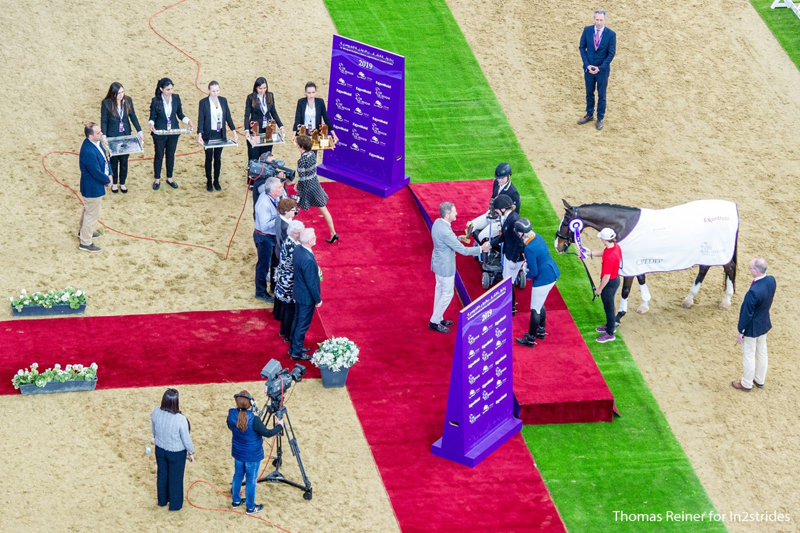 Roberta Sheffield and Fairuza adjusted to the bright lights of the Al Shaqab equestrian centre and won the Grade III Freestyle on March 9, 2019. Photo by ThomasReiner.pro for in2strides/Al Shaqab