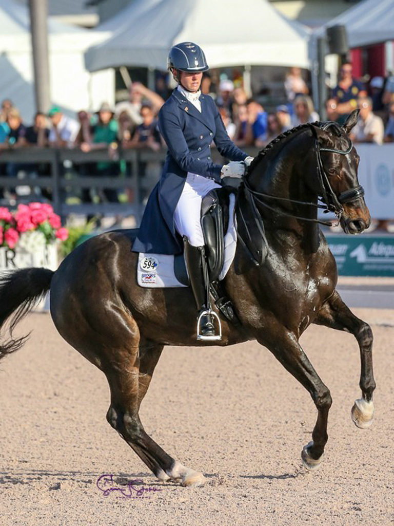 Tina Irwin of Stouffville, ON led the Canadian Dressage Team to a silver medal in the CDIO 3* FEI Nations Cup aboard Laurencio on March 14 in Wellington, FL. Photo by Susan J. Stickle