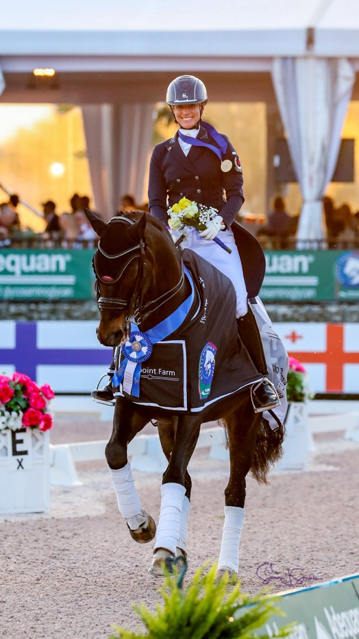 Tina Irwin of Stouffville, ON, followed up her team silver medal with the individual gold in the Intermediate I Freestyle aboard Laurencio during the 2019 CDIO 3* Nations Cup in Wellington, FL.
