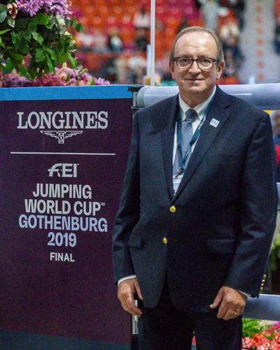 "Respected Canadian FEI jumper judge John ""J.T."" Taylor officiated at the 2019 Longines FEI Jumping World Cup™ Final in Gothenburg, Sweden. Photo by Jump Media"