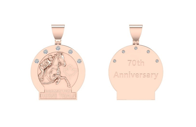 The bespoke necklace has a pendant has a 3-D horse jumping out of circle beside maple leaf. There are five diamonds over the horse and rider with Badminton Horse Trials engraved underneath. On the back is engraved 70th Anniversary to reflect Badminton's years of competition. The pendant and necklace are valued at $1,500 CAD.