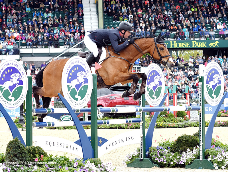 The Equestrian Events Inc. fence has a place of prominence in the Kentucky Horse Park stadium, where Oliver Townend won the Land Rover Kentucky Three-Day Event last weekend on Cooley Master Class. Photo ©2019 by Nancy Jaffer