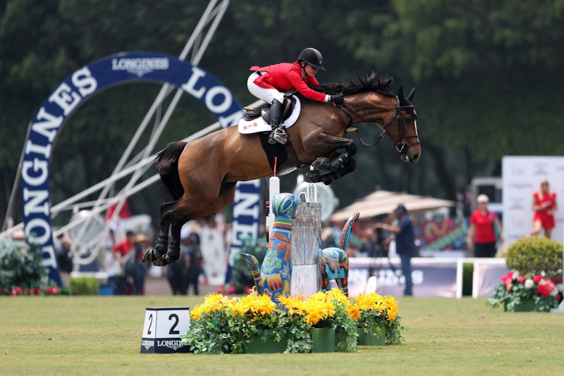 Lisa Carlsen and Parette, part of the third placed Canadian Show Jumping Team in the Longines FEI Jumping Nations Cup™ Mexico. Photo by Anwar Esquivel
