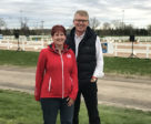 Dr. Geoff Vernon, right, spearheaded the development of the Dressage Youth Development Fund and, along with several collaborators, kick-started the fundraising with a generous $10,000 donation. He is pictured with Christine Peters, Equestrian Canada Senior Manager of the Dressage Olympic/Paralympic Program, at the 2019 Ottawa Dressage Festival. Photo ©EC/Erin Foster