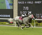 Bold Rally and jockey Eurico Rosa Da Silva nosed out Badjeros Boy and Jesse Campbell in a photo finish to win the first race contested on Woodbine Racetrack's new inner turf course on Friday, June 28.