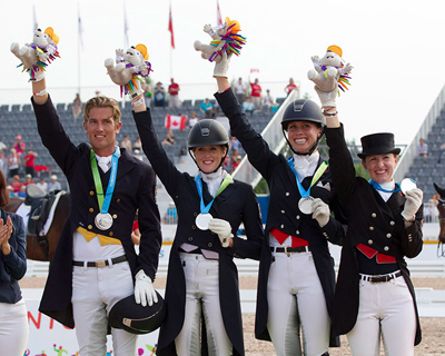 The Canadian Dressage Team won the Silver Medal at the 2015 Pan American Games (l-r) Chris von Martels, Brittany Fraser, Megan Lane and Belinda Trussell. Cealy Tetley photo