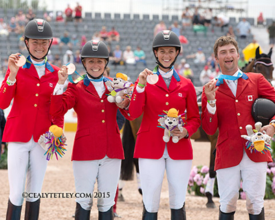 The Canadian Eventing Team claimed the team bronze medal at the 2015 Pan American Games (l-r) Kathryn Robinson, Jessica Phoenix, Colleen Loach and Waylon Roberts. Photo by Cealy Tetley