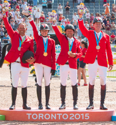 The 2015 Pan American gold medal-winning jumping team (l-r) Yann Candele, Tiffany Foster, Eric Lamaze and Ian Millar. FEI/StockImageServices photo