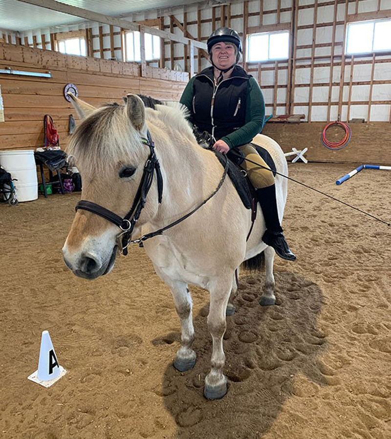 Tara Macdonald of Clarksburg, ON, and Gaben placed first in Class #3 (Para-Equestrian Level 3 – Introduction to Dressage, Walk) in the fourth leg of the 2019 Para-Dressage Video Competition Series. Photo by Sylvie Caron
