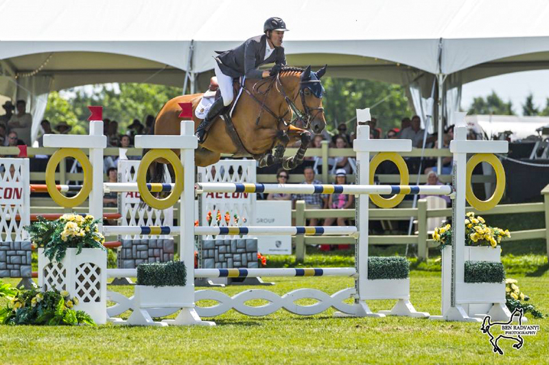 Jonathon Millar rode Daveau to victory in the $134,000 CSI3* Grand Prix, presented by Brookstreet Hotel, on Sunday, July 21, at the CSI3* Ottawa International II at Wesley Clover Parks in Ottawa, ON. Photo by Ben Radvanyi Photography