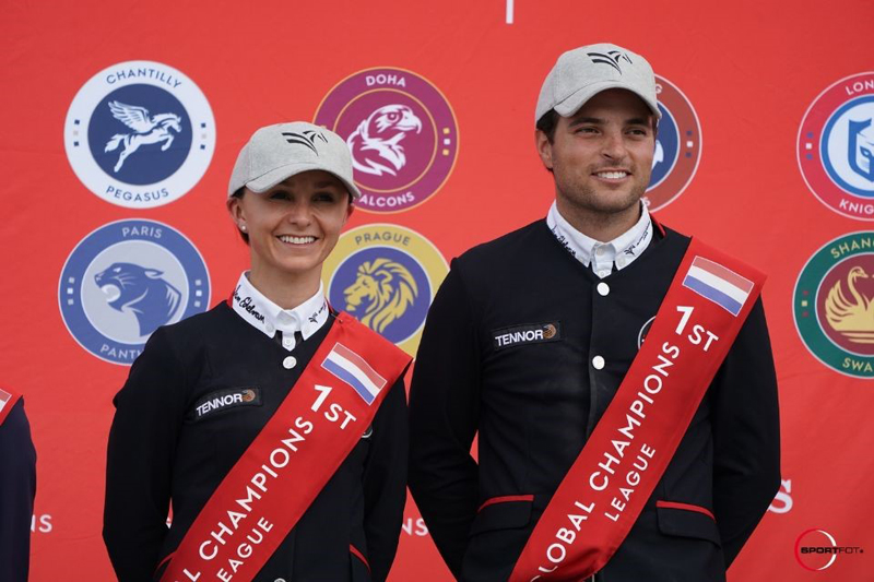 Georgina Bloomberg (left) and Daniel Bluman celebrated the New York Empire team's win at the Global Champions League Valkenswaard. Photo by Sportfot