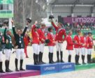 The Eventing podium at the Pan Am Games in Lima: (l-r) team Brazil (silver); Team USA (gold); Team Canada (bronze)