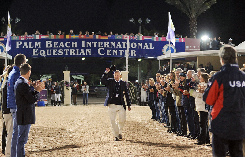 George Morris was saluted at the 2013 Winter Equestrian Festival after retiring as U.S. show jumping coach. Photo©2013 by Nancy Jaffer