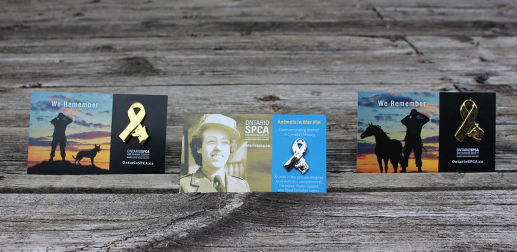 Two new Remembrance Day pins have been unveiled, which honour women in Canada's military and the animals who stood by their side.