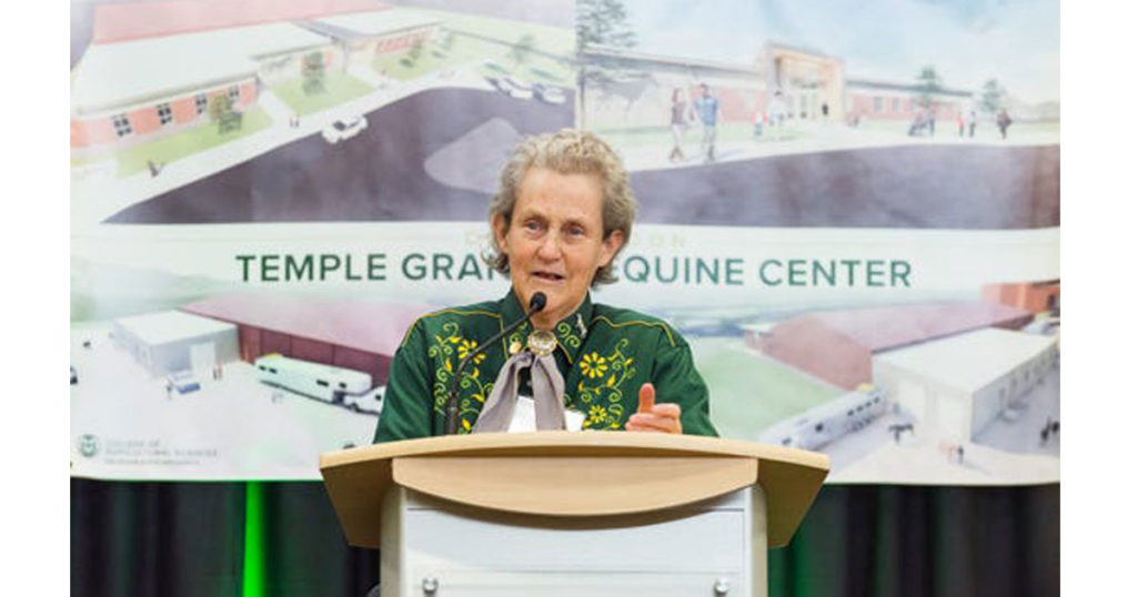 Temple Grandin, Colorado State University's famed professor of animal sciences and autism advocate, speaks at the groundbreaking for the Temple Grandin Equine Center in Fort Collins. (Grace Branaugh/Colorado State University Photography)