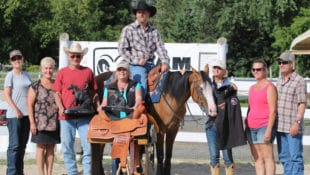 Ron Legere and Thischicsgunacostya after their OBBO Reining Futurity win at the Pickering Horse Centre.