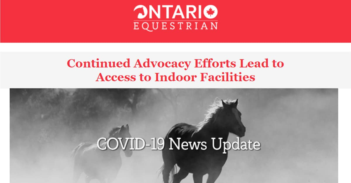 Thumbnail for Access to indoor horse riding facilities in Ontario now possible