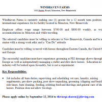 Windhaven Farms Hiring Elite Level Groom