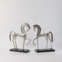 Metal Horse Sculpture on wood base.Hand crafted .